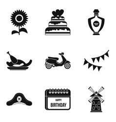 hootch icons set simple style vector image vector image
