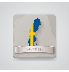 Icon of Sweden map with flag vector image
