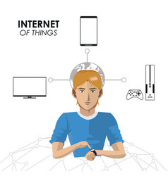 Internet things man wearable technology game tv vector