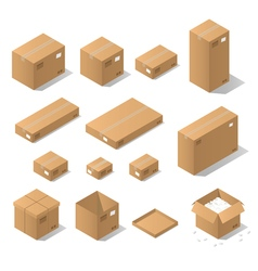 Isometric cardboard boxes vector