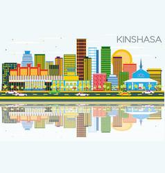 Kinshasa skyline with color buildings blue sky vector