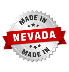 Made in nevada silver badge with red ribbon vector