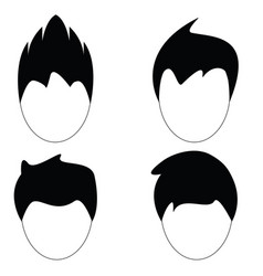 man hair hairstyle silhouette vector image