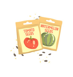 Packs of tomato and watermelon seeds cartoon vector