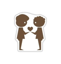 Paper sticker on white background people heart vector