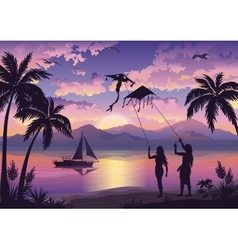 People with kites on tropical beach vector