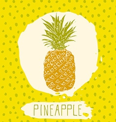 Pineapple hand drawn sketched fruit with leaf on vector