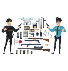 police elements collection vector image