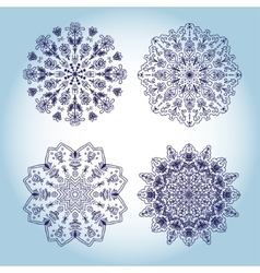 Set four design snowflakes circle lace ornament vector image