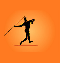 Silhouette of a javelin throw athlete vector