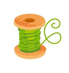 simple flat green thread and bobbin vector image