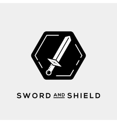 Sword and shield abstract logo template or vector