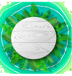 wooden circle emblem on palm vector image