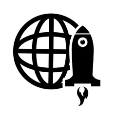 earth globe diagram and rocket icon vector image