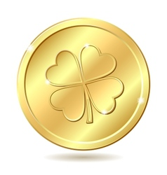 Golden coin with clover vector