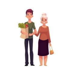 Young man helping grandmother with shopping vector