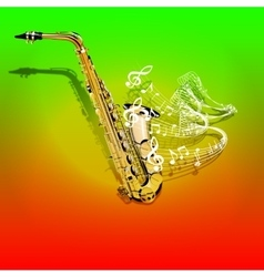 Musical saxophone and waves of musical notes vector