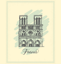 Notre dame de paris cathedral france vector