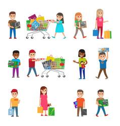 Smiling children doing shopping poster on white vector