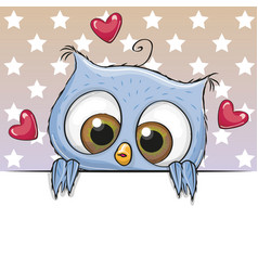 Cute cartoon owl is holding a placard vector