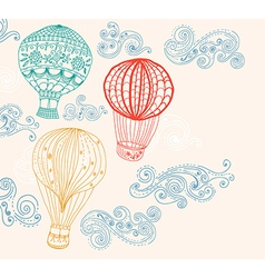 Hot air balloon in sky background vector