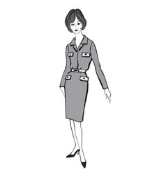 stylish cloth woman fashion dressed girl 1960s vector image