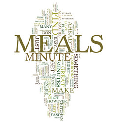 Minute meals text background word cloud concept vector