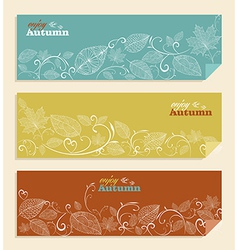 Vintage enjoy autumn text and leaves background vector