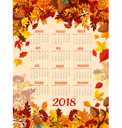Calendar 2018 template with autumn season leaf vector