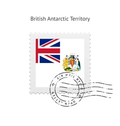 British antarctic territory flag postage stamp vector