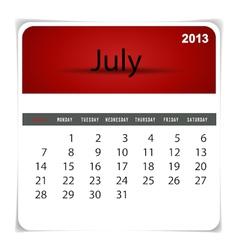 2013 calendar july vector