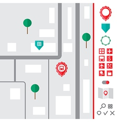 Urban map with pointer icons set vector