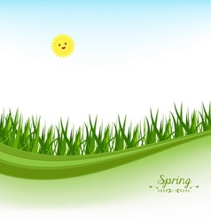 Springl banners with grass and blue sky vector