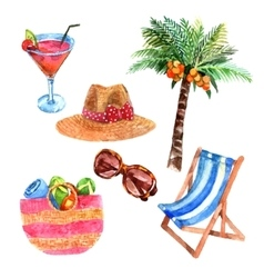 Tropical vacation travel watercolor icons set vector