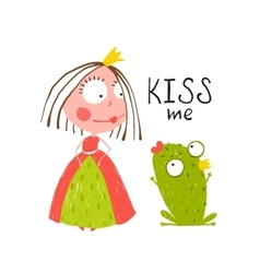 Baby Princess and Frog Asking for Kiss vector image