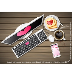 Computer and mobile phone with coffee and bread vector