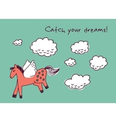 Horse dreams and clouds card vector