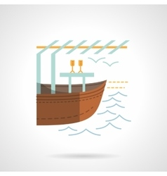 Boat market flat color icon vector