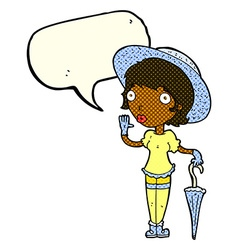 Cartoon woman in summer hat waving with speech vector