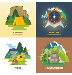 Outdoor adventure camp flat background concept set vector