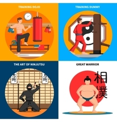 Martial arts concept icons set vector