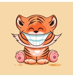 Tiger cub with huge smile vector