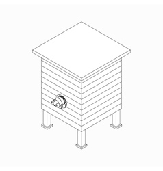Beehive with bee icon isometric 3d style vector