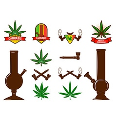 Set of cannabis leafs bongs vector