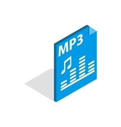 Mp3 file format icon isometric 3d style vector