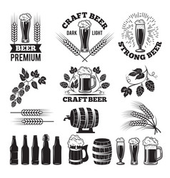 beer pub labels set logo design elements brewery vector image