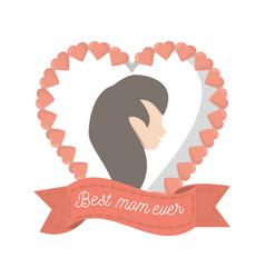 Best mom ever heart female figure vector