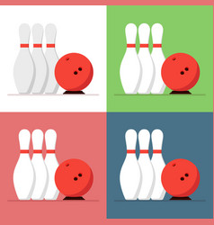 bowling ball and skittles set isolated on a vector image