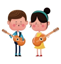Boy and girl with guitars singing happy love vector