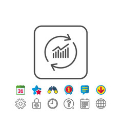 Chart line icon update report graph sign vector